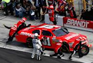 DAYTONA BEACH, FL - FEBRUARY 25: Justin Allgaier, driver of the #31 Brandt Chevrolet, pits during the NASCAR Nationwide Series DRIVE4COPD 300 at Daytona International Speedway on February 25, 2012 in Daytona Beach, Florida. (Photo by Tom Pennington/Getty Images for NASCAR)