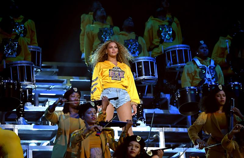 Beyoncé famously performed a drumline-themed opening number at Coachella 2018. (Photo: Getty Image)