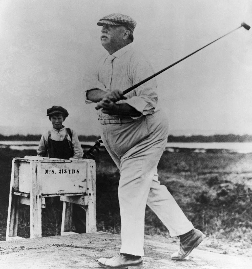 <p>William Taft hits the links in an undated photo. </p>