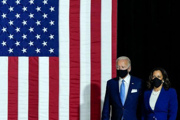 PHOTO: Presumptive Democratic presidential nominee former Vice President Joe Biden and his running mate Sen. Kamala Harris deliver remarks at the Alexis Dupont High School, Aug. 12, 2020, in Wilmington, Delaware. (Drew Angerer/Getty Images, FILE)