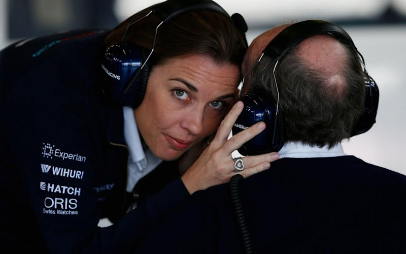 Claire Williams chats with her father - PA