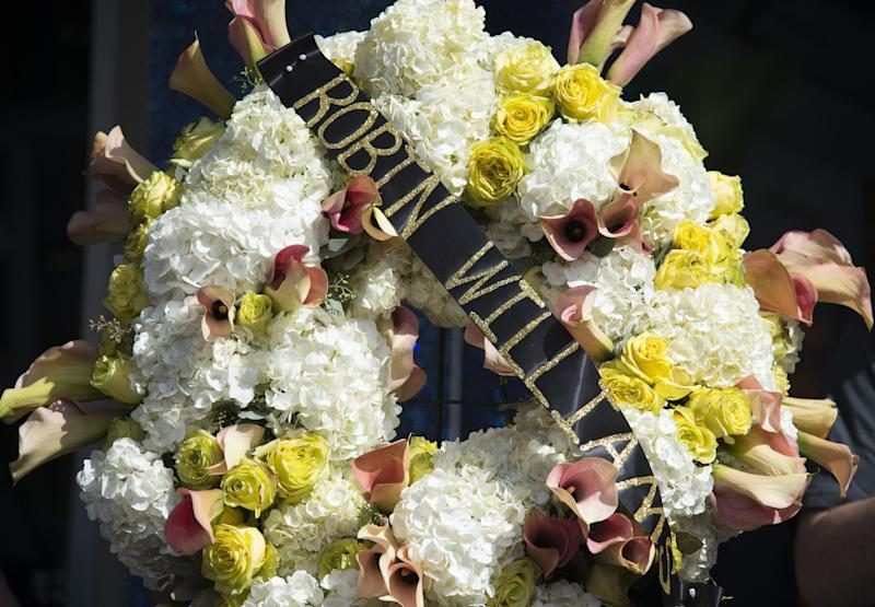 A wreath is seen at actor/comedian Robin Williams' star on the Hollywood Walk of Fame, August 12, 2014, in Hollywood, California