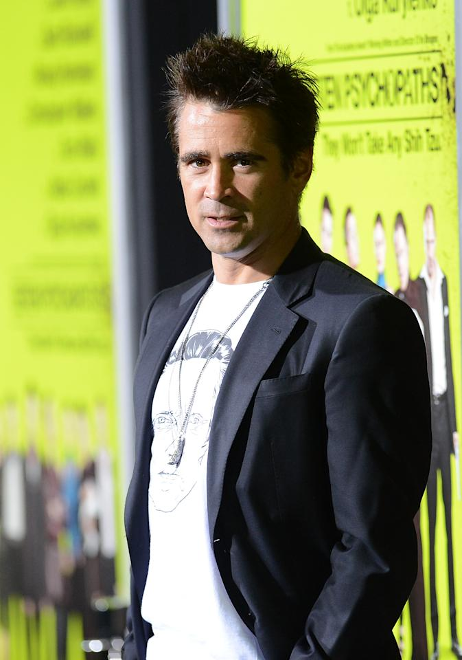 WESTWOOD, CA - OCTOBER 01:  Actor Colin Farrell arrives at the premiere of CBS Films' 'Seven Psychopaths' at Mann Bruin Theatre on October 1, 2012 in Westwood, California.  (Photo by Jason Merritt/Getty Images)
