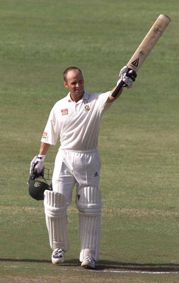 29 Dec1999: Gary Kirsten of South Africa celebrates his century during the third test match at Kingsmeade in Durban, South Africa. Mandatory Credit: Laurence Griffiths/ALLSPORT