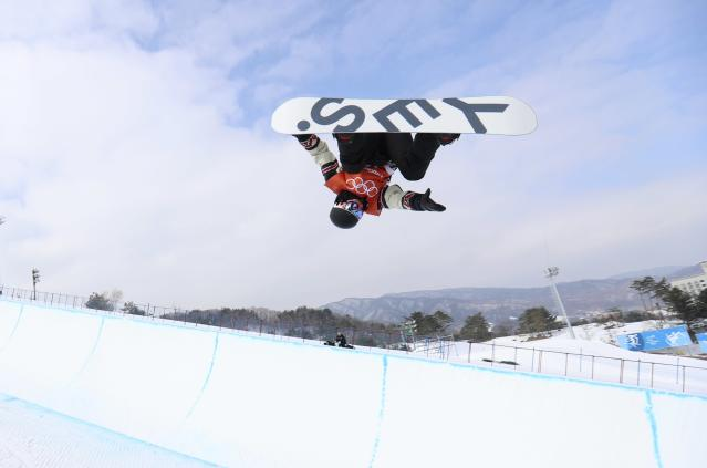 Snowboarding - Pyeongchang 2018 Winter Olympics - Halfpipe Training - Phoenix Snow Park - Pyeongchang, South Korea - February 9, 2018 - Derek Livingston of Canada trains. REUTERS/Mike Blake