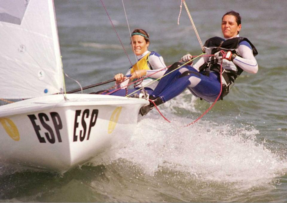 SAVANNAH, GA - JULY 30:  Theresa Zabell and Begona Via Dufresne (order unknown) of Spain race their double-handed 470 dinghy during race 10 in the women's event near Savannah, Georgia, 30 July. Zabell and Via Dufresne are first in the standings after ten races.  (Photo credit should read PASCAL GUYOT/AFP via Getty Images)