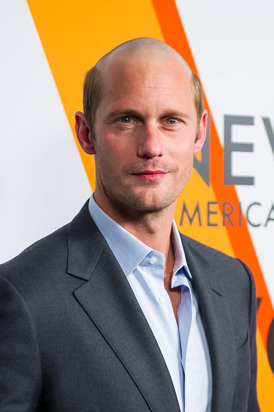 <p>People were perplexed, to say the least, when Skarsgård walked the red carpet with a partially-bald, Bart Simpson-esque look in 2018. Thankfully, the actor was merely preparing for his role in <em>The Hummingbird Project. </em></p>