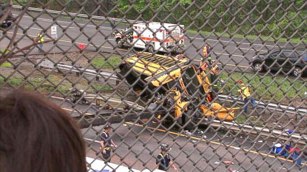 PHOTO: Emergency crews respond to the scene where a school bus collided with a dump truck near Mount Olive Township, N.J., May, 17, 2018. (WABC)