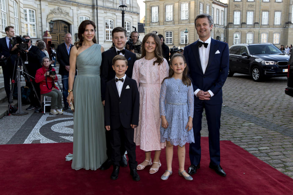 Prince Frederik and Princess Mary and their four children arrive at Amalienborg Royal Palace