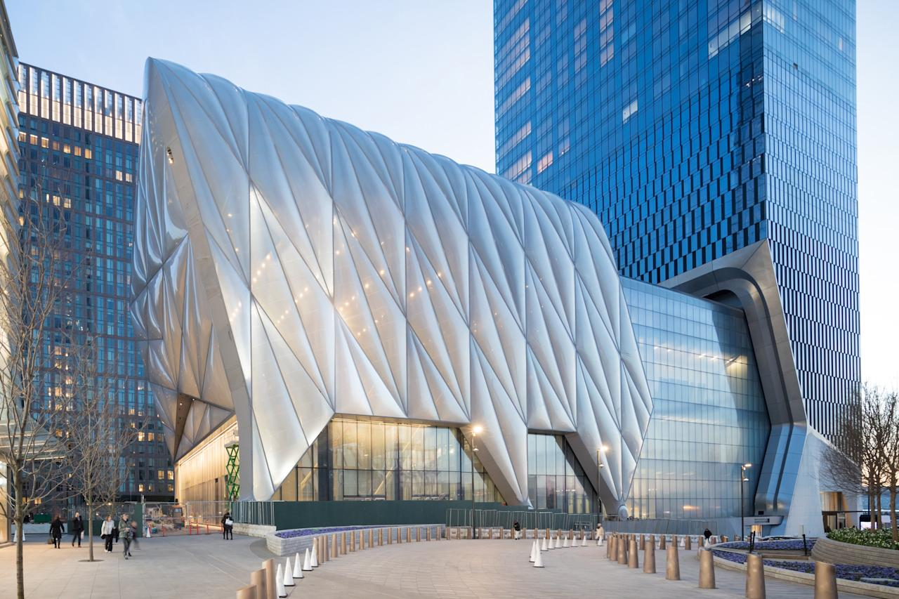 """Designed by Diller Scofidio + Renfro in collaboration with Rockwell Group, <strong>the Shed</strong> is a $475 million arts center. This structure is a 200,000-square-foot cultural space, that's an amorphous building, with an outer shell that sits on a set of wheels connected to a short track. Once activated, the shell moves away from the main frame of the building, in effect creating an entire new building that's part of the original one. """"The technology used to move the structure is actually old fashioned,"""" says Diller. """"To open and close the Shed takes the same horsepower of one [Toyota] Prius engine, making it very economical."""" (For reference, the 2019 Toyota Prius runs on 121 horsepower.)"""