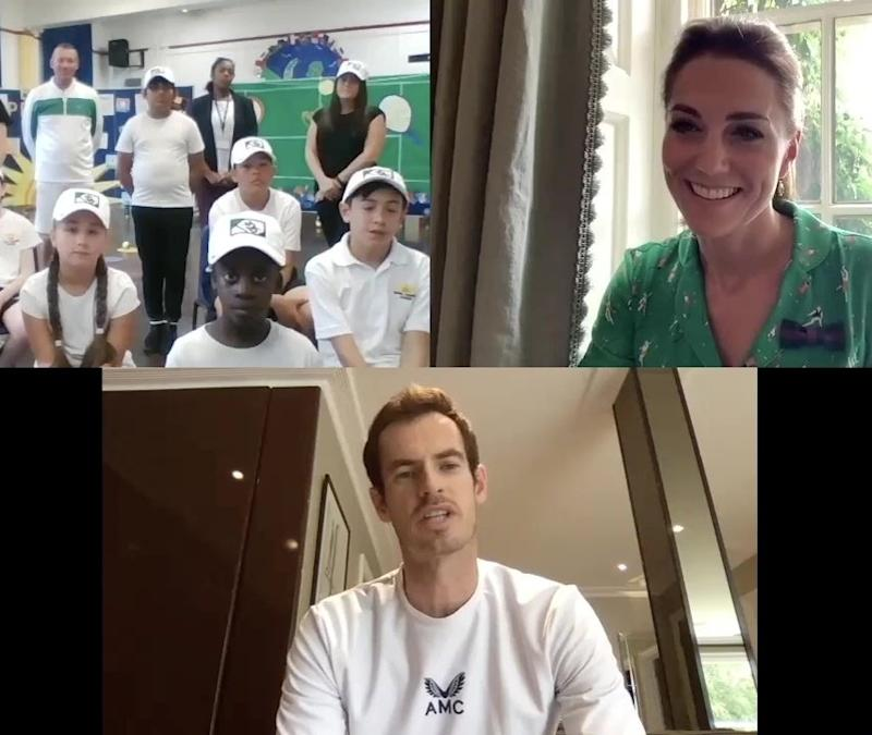 The Duchess of Cambridge speaking to students from Bond Primary School alongside former Wimbledon champion, Andy Murray (Kensington Royal)