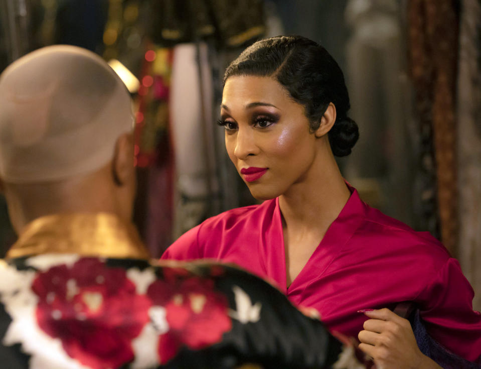 """This image released by FX shows Billy Porter as Pray Tell, foreground left, and Mj Rodriguez as Blanca in a scene from """"Pose."""" Rodriguez was nominated for an Emmy Award for outstanding leading actress in a drama series. (Eric Liebowitz/FX via AP)"""