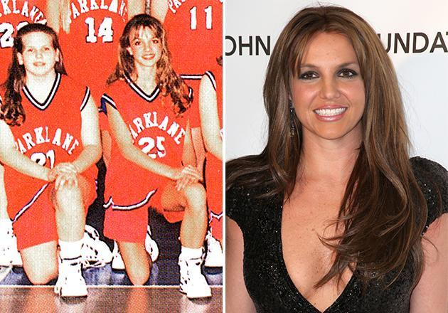 "In 1997, during her freshman year at Park Lane Academy in McComb, Mississippi, Britney Spears (number 25) looked glammed-up enough to jump right into her ""…Baby One More Time"" video which had a high school theme. Turns out, Britney must have been spending time both on the court and in the studio in 1997, since her breakout hit single was released only a year later."