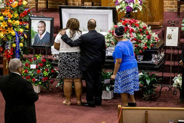 PHOTO: Mourners console one another before the funeral of Botham Shem Jean at the Greenville Avenue Church of Christ in Richardson, Texas, Sept. 13, 2018. Jean was shot and killed by Dallas police officer Amber Guyger in his apartment in Dallas. (Shaban Athuman/AP, FILE)