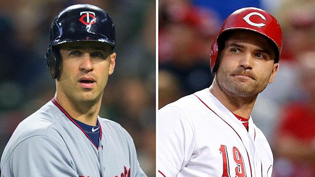 Joe Mauer and Joey Votto are both highly paid first basemen, but Votto has a huge stat advantage. Mauer might soon gain the wins advantage, however.