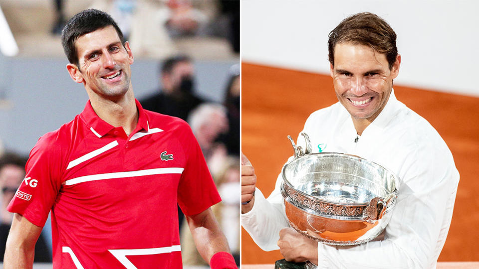 Novak Djokovic (pictured left) looking frustrated and Rafael Nadal (pictured right) celebrating with the French Open trophy.