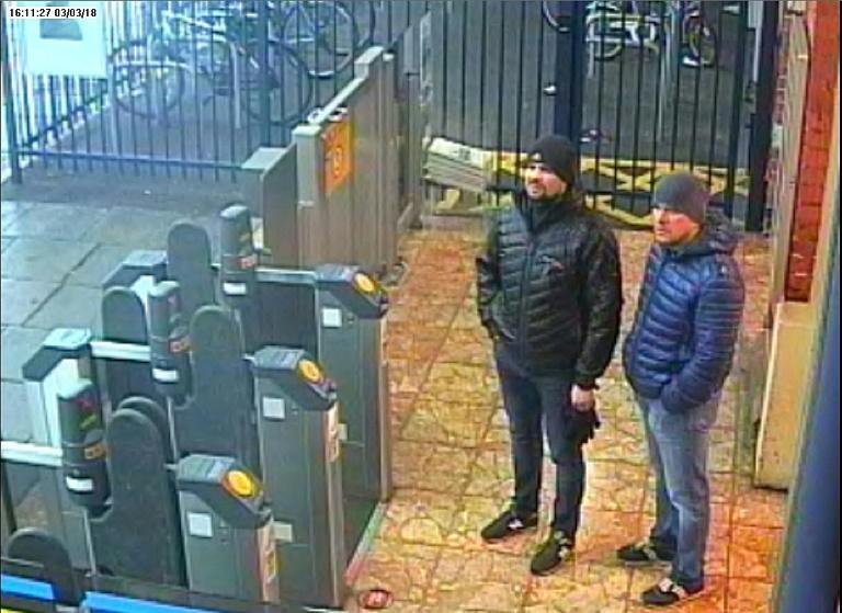 'Petrov' and 'Borisov', caught here on CCTV at Salisbury train station in March 2018, later told Russia television they were there on a sightseeing trip