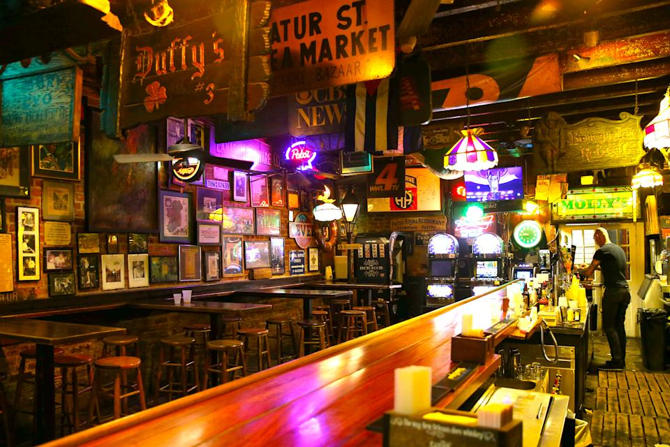 An empty bar is pictured in the French Quarter neighborhood of New Orleans, Louisiana, U.S. March 15, 2020. REUTERS/Jonathan Bachman