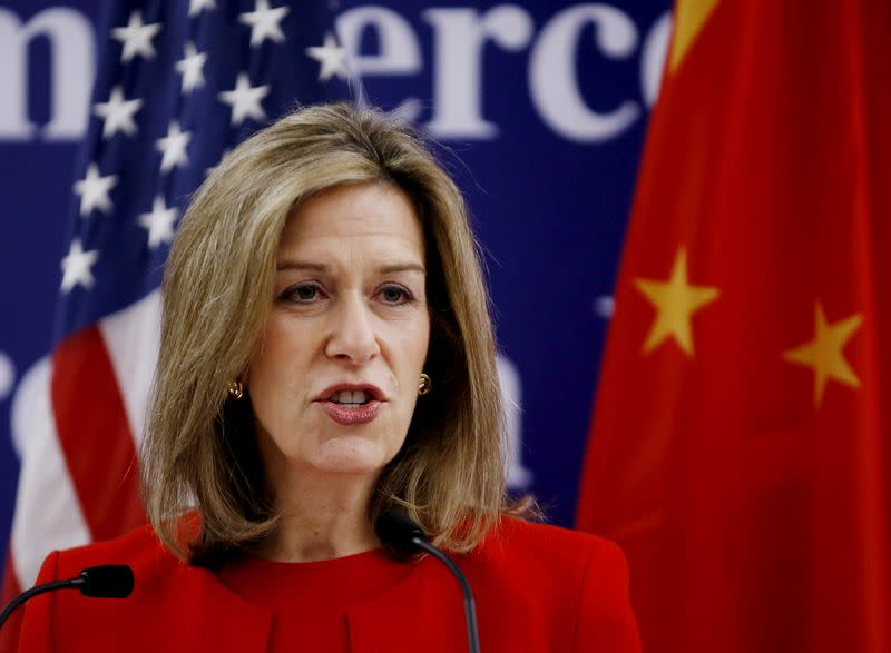 FILE PHOTO: U.S. Department of Energy Deputy Secretary Elizabeth Sherwood-Randall makes a speech at Microsoft China Center in Beijing