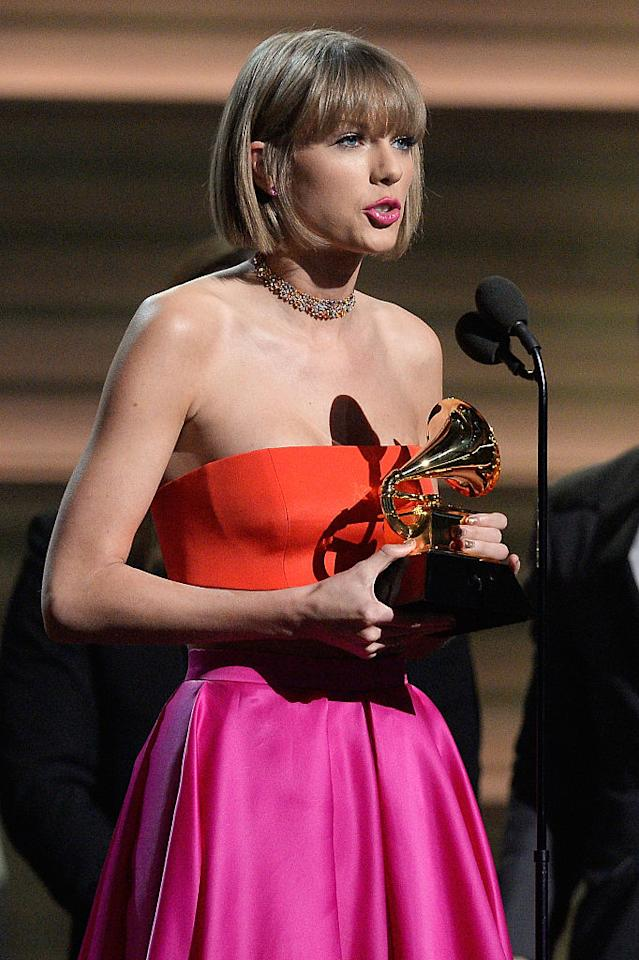 "<p>She may have made history at the 2016 Grammys by becoming the first woman to win Album of the Year twice, but Taylor Swift wanted to use her acceptance speech for more than just thanking her fans. Speaking to ""the young women out there"", the popstress gave a perfectly judged lesson in getting the upper hand. Less than a week after Kanye West Famous dig at Taylor, in which he suggested her fame was down to him crashing her moment at the 2009 MTV Awards, she took to the podium to give a thinly veiled diss of the Swift variety. ""There are going to be people along the way who will try to undercut your success, or take credit for your accomplishments or your fame,"" she said. ""But if you just focus on the work and you don't let those people sidetrack you, someday, when you get where you're going, you'll look around and you will know that it was you and the people who love you who put you there, and that will be the greatest feeling in the world."" Preach Tay Tay. Preach. [Photo: Getty] </p>"
