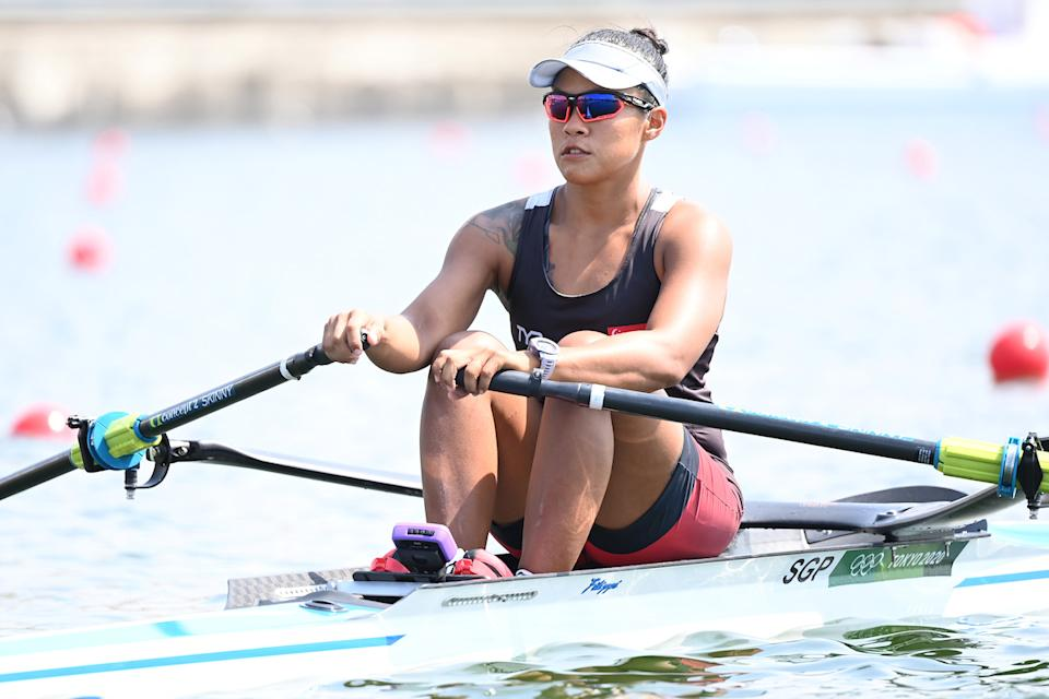 Singapore's Joan Poh competes in the women's single sculls rowing event at the 2020 Tokyo Olympics. (PHOTO: Luis Acosta/AFP)