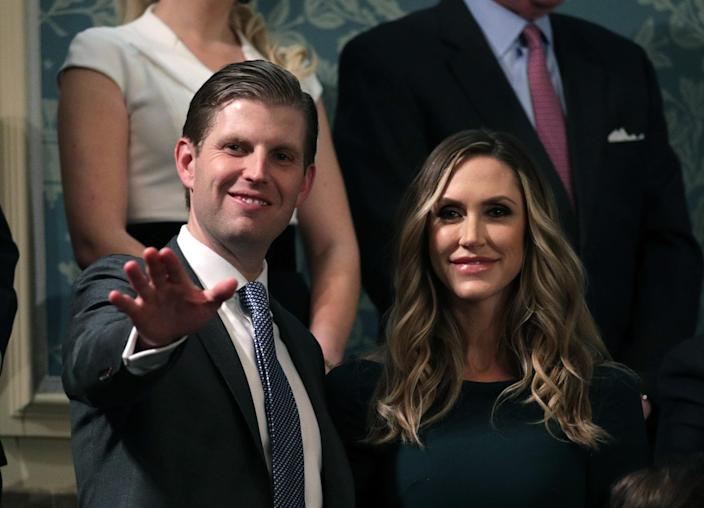 <p>Eric and Lara Trump attend the State of the Union address in the chamber of the U.S. House of Representatives on Jan. 30 in Washington, D.C. (Photo: Alex Wong/Getty Images) </p>