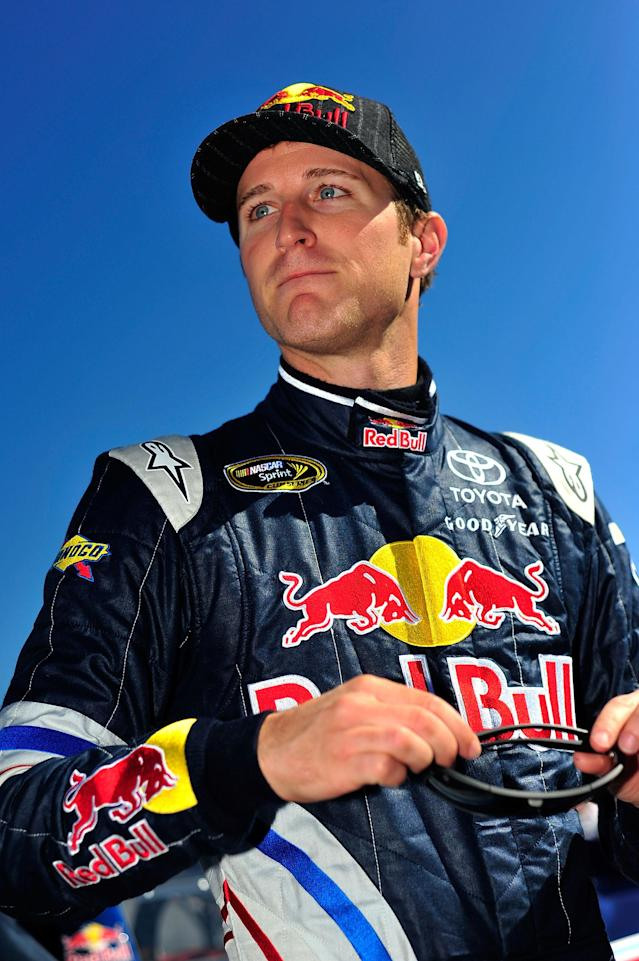 TALLADEGA, AL - OCTOBER 22: Kasey Kahne, driver of the #4 Red Bull Toyota, looks on during qualifying for the NASCAR Sprint Cup Series Good Sam Club 500 at Talladega Superspeedway on October 22, 2011 in Talladega, Alabama. (Photo by Jason Smith/Getty Images)