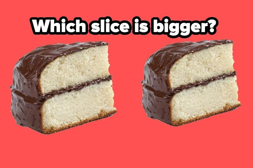 """Two slices of cake with the words """"Which slice is bigger?"""""""
