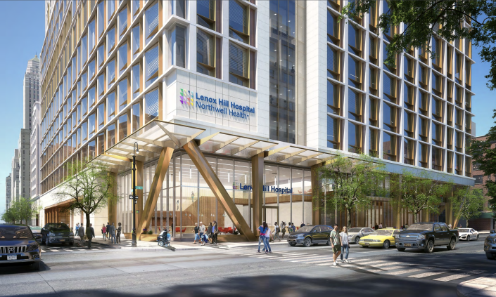 An initial rendering of Lenox Hill Hospital's planned expansion at Lexington Avenue and East 76th Street, presented to Community Board 8 in March 2019. (Northwell Health)
