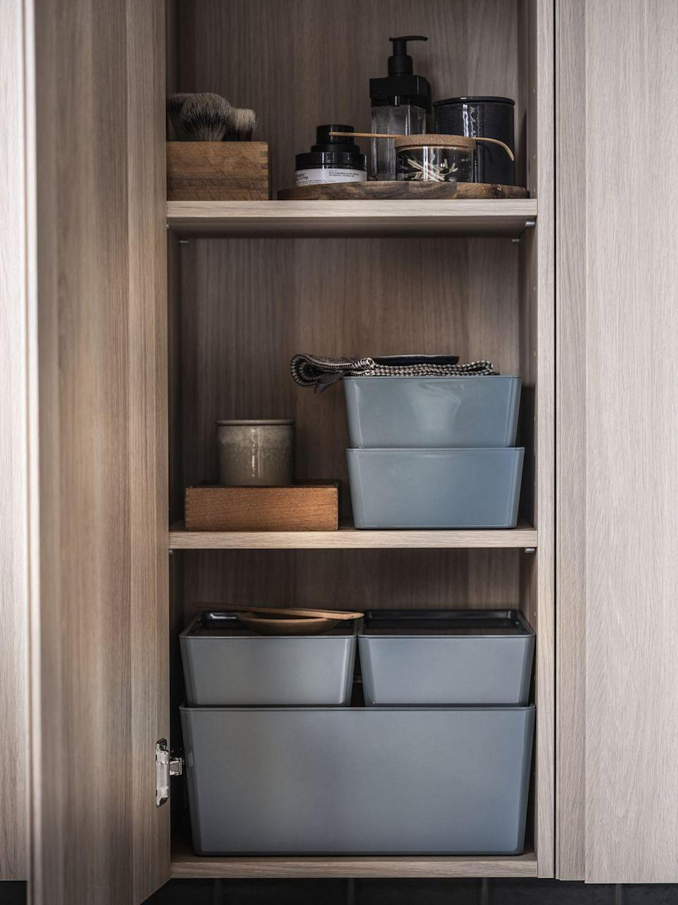 """<p>Clear clutter around your home with IKEA's collection of practical boxes and baskets. Whether you're looking to tidy your <a href=""""https://www.countryliving.com/uk/homes-interiors/interiors/a34722445/how-to-declutter-a-hallway/"""" rel=""""nofollow noopener"""" target=""""_blank"""" data-ylk=""""slk:hallway"""" class=""""link rapid-noclick-resp"""">hallway</a> or bathroom, there's something here for every space. </p><p>""""Store away smaller items whilst instilling an authentic, natural and handcrafted touch with the woven LOKALT basket,"""" Clotilde adds. </p><p>""""Made from banana bark rope, it's both sustainable and hardwearing, with the collection supporting refugee and local Jordanian women across the globe. The sleek VARIERA box is another handy and eco-friendly option, with its bamboo material giving a warm and finished expression, whilst saving space with its stackable feature.""""</p>"""