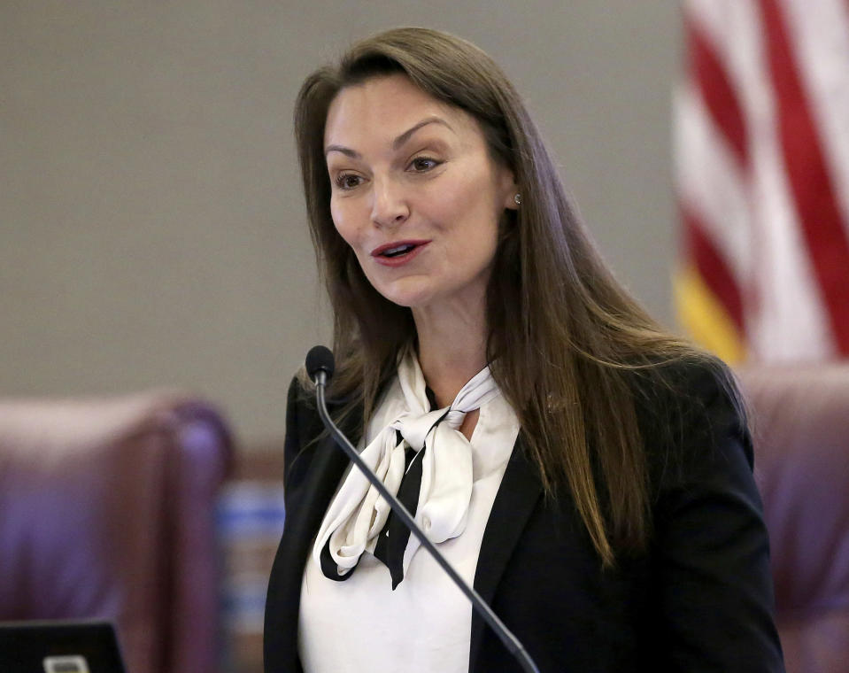 FILE - In this Oct. 29, 2019 photo, Agriculture commissioner Nikki Fried speaks in Tallahassee, Fla. Fried, whose office polices charities, alleged Friday, June 18, 2021, that a group run by one of former President Donald Trump's most prominent election conspiracy adherents is illegally seeking donations in the state. Fried, a Democrat, said her office has filed an administrative complaint against attorney Sidney Powell's Defending the Republic group demanding that it obey state law or cease Florida operations. (AP Photo/Steve Cannon, File)