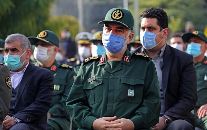 Iranian Revolutionary Guards commander-in-chief Major General Hossein Salami attending the funeral of slain top nuclear scientist Mohsen Fakhrizadeh - -/AFP
