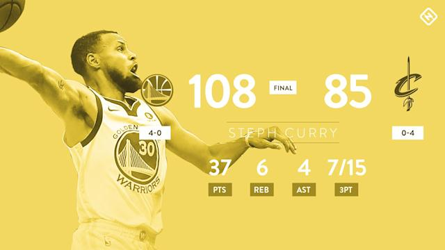 Stephen Curry and Kevin Durant dominated Game 4 in Cleveland, leading the Warriors to an easy victory and another NBA championship.