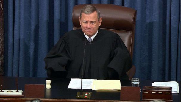 PHOTO: Chief Justice of the Supreme Court John Roberts during closing arguments in the impeachment trial of President Donald Trump at the Capitol, Feb. 3, 2020. (ABC News)