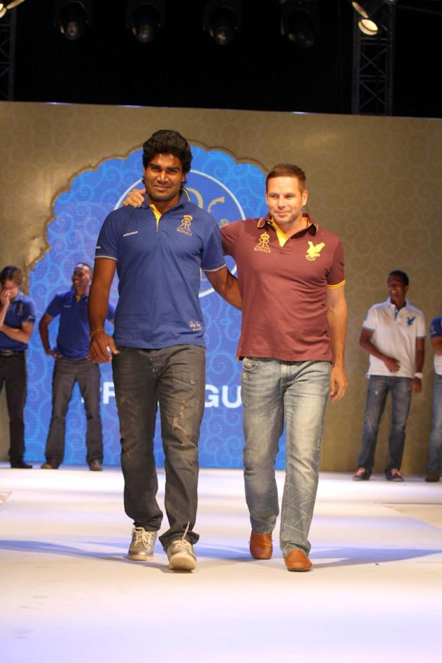 Rajasthan Royals' Rahul Shukla and Bradley Hodge on the ramp at the Rajasthan Royals-Provogue Fanwear Launch at Hotel Marriott in Jaipur on Monday