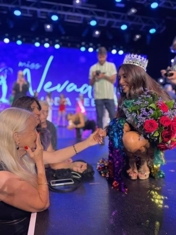 A photo of Kataluna Enriquez greeting a woman after being crowned Miss Nevada USA on June 27, 2021.