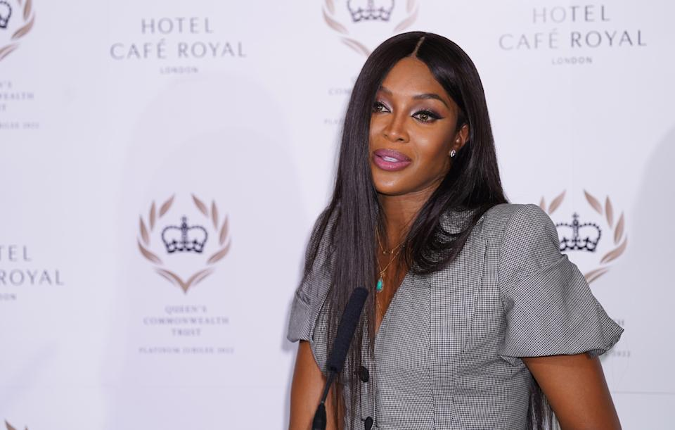 Supermodel Naomi Campbell at a press conference at Hotel Cafe Royal, central London for the announcement that she will become a global ambassador for the Queen's Commonwealth Trust. Picture date: Thursday September 16, 2021.