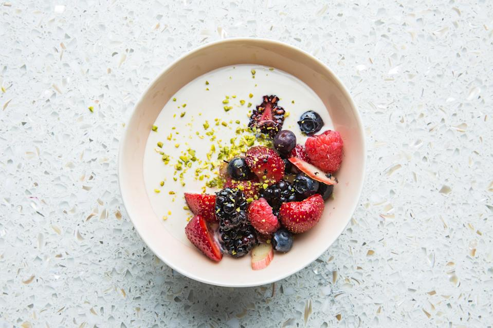 """This fresh, simple, bloob-heavy summer dessert recipe gets a slight twist with addition of tea. If you're not a fan of Earl Grey, try it with chamomile, matcha, or jasmine. <a href=""""https://www.bonappetit.com/recipe/berries-with-tea-infused-cream-and-pistachios?mbid=synd_yahoo_rss"""" rel=""""nofollow noopener"""" target=""""_blank"""" data-ylk=""""slk:See recipe."""" class=""""link rapid-noclick-resp"""">See recipe.</a>"""