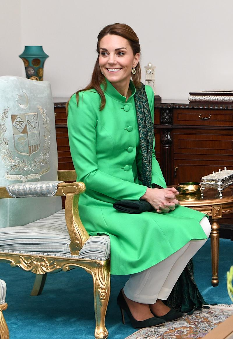 Kate Middleton meets with the Prime Minister of Pakistan, Imran Khan at his official residence on October 15, 2019 in Islamabad, Pakistan. Photo by AndrEW Pool/Samir Hussein/WireImage.
