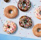 """<p>Straight from the air fryer, they'll look a little more like bagels, but everything changes once you dip them in glaze and top with rainbow sprinkles. </p><p>Get the <a href=""""https://www.delish.com/uk/cooking/recipes/a30698454/air-fryer-doughnuts-recipe/"""" rel=""""nofollow noopener"""" target=""""_blank"""" data-ylk=""""slk:Air Fryer Doughnuts"""" class=""""link rapid-noclick-resp"""">Air Fryer Doughnuts</a> recipe.</p>"""