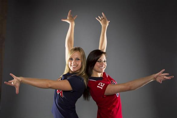 Synchronized swimmers Mariya Koroleva (L) and Mary Killman pose for a portrait during the 2012 U.S. Olympic Team Media Summit in Dallas, May 13, 2012.