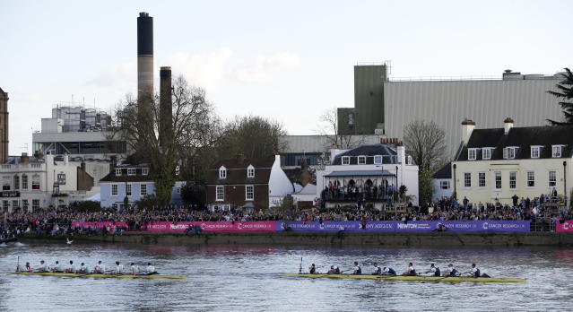Britain Rowing - 2017 Oxford v Cambridge University Boat Race - River Thames, London - 2/4/17 Oxford and Cambridge teams at the end of the race Action Images via Reuters / Paul Childs Livepic