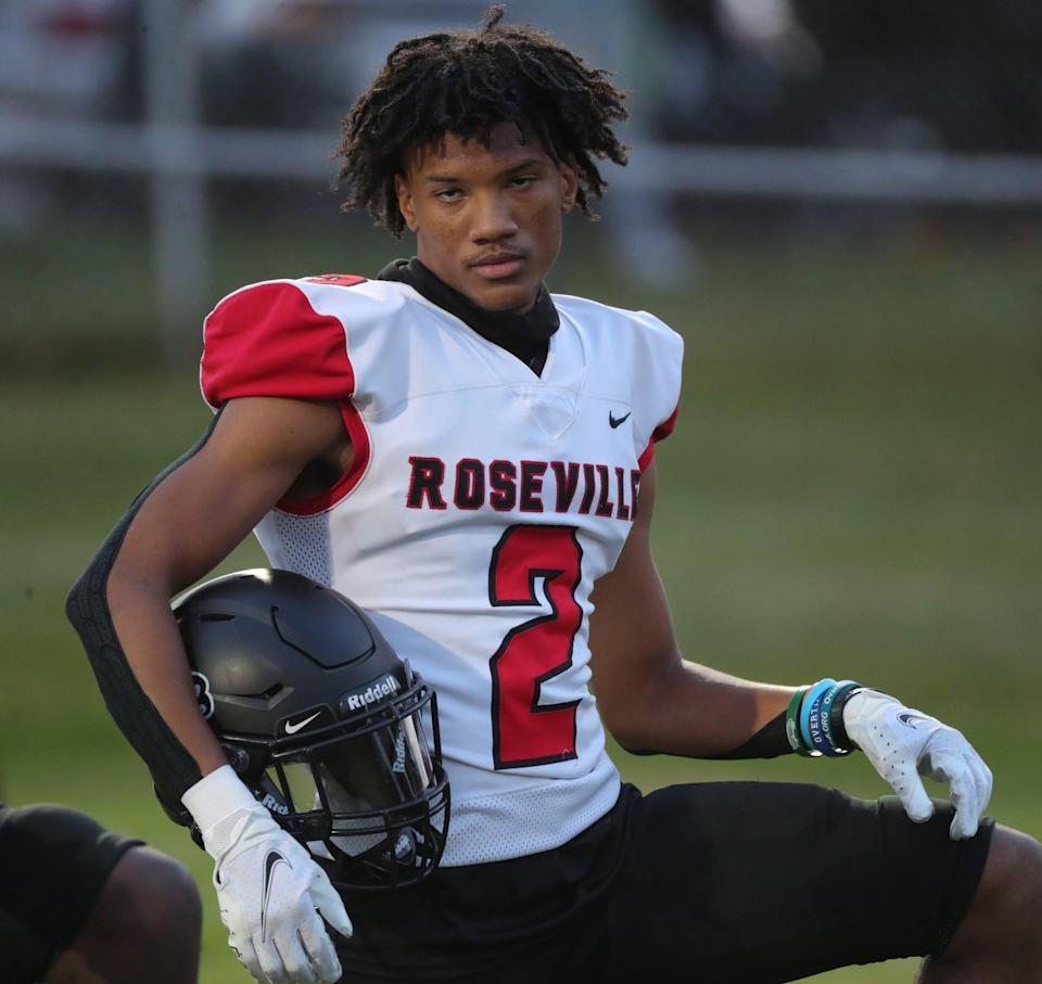 Roseville high school receiver Tyrell Henry before action against Eastpointe on Friday, Oct. 9, 2020.