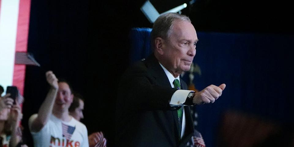 mike bloomberg thumbs up tax bill sanders