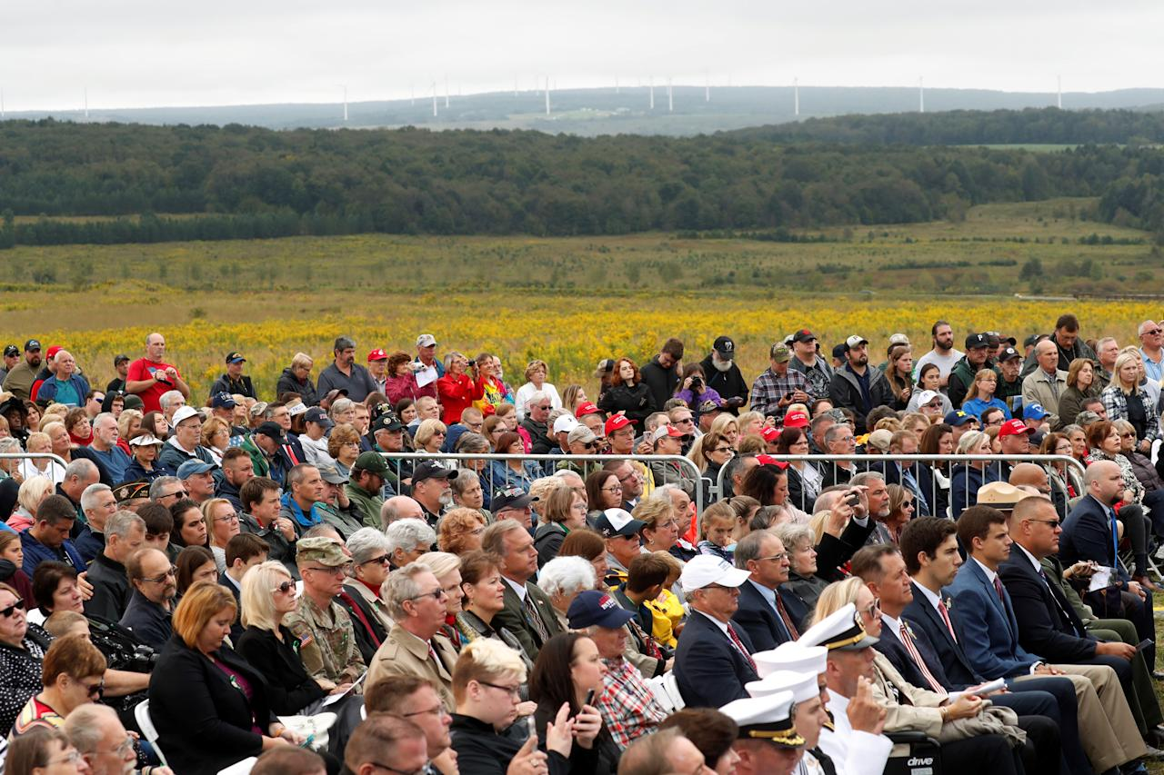 <p>A crowd of family members of the victims and other guests attend the 17th annual September 11 observance at the Flight 93 National Memorial in Stoystown near Shanksville, Pa., Sept. 11, 2018. (Photo: Kevin Lamarque/Reuters) </p>