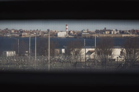 FILE PHOTO: A view from a jail cell in the Enhanced Supervision Housing Unit at the Rikers Island Correctional facility in New York