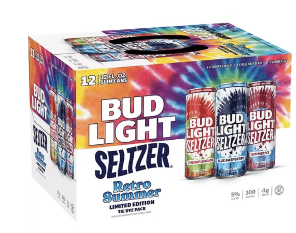 """<p>Everything about this hard seltz from Bud Light is nostalgic, from the newly-chic-again aesthetic to the actual flavors of the booze (Cherry Limeade, Blue Raspberry, and Summer Ice, for those who are wondering!). The variety pack is very clearly labeled as a summer offering—and, I suspect, given the tie-dye craze we're all currently swept up in—it'll be a 2021 special. Plus, it's slightly on sale at the time of publication. TL;DR: Get this stuff while you can.</p><p><a class=""""link rapid-noclick-resp"""" href=""""https://www.bevmo.com/shop/beer_and_hard_seltzer/hard_seltzer/malt_beverages/bud_light_seasonal_seltzer_retro_summer_variety_pack_12_pkc_12_oz/p/1564405684710348453"""" rel=""""nofollow noopener"""" target=""""_blank"""" data-ylk=""""slk:BUY NOW"""">BUY NOW</a> <strong><em>Bud Light Retro Summer Variety Pack, $15.99, bevmo.com</em></strong></p>"""
