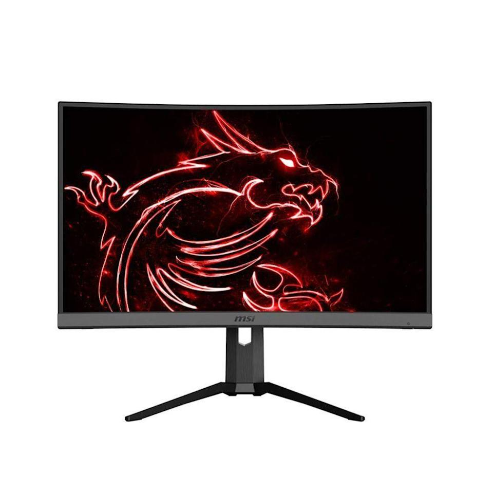 """<p><strong>MSI</strong></p><p>amazon.com</p><p><strong>$435.99</strong></p><p><a href=""""https://www.amazon.com/dp/B083L51BXC?tag=syn-yahoo-20&ascsubtag=%5Bartid%7C2089.g.864%5Bsrc%7Cyahoo-us"""" rel=""""nofollow noopener"""" target=""""_blank"""" data-ylk=""""slk:Shop Now"""" class=""""link rapid-noclick-resp"""">Shop Now</a></p><p>The MSI Optix MAG272CQR curved gaming monitor has it all: a cool design with slim display bezels and a customizable RGB lighting strip on its back, fantastic picture quality, and superb gaming performance.</p><p>The monitor is equipped with a sharp VA display panel with excellent contrast capabilities, which will allow gamers to see better during dark gameplay scenes. This feature can literally give players an edge over their gaming opponents. </p><p>The screen of the MSI Optix MAG272CQR also features built-in tech for reducing blue light emission and flicker. This monitor also has a USB-C port for seamless connection with a computer.</p>"""