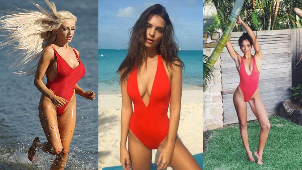 Celebs in Baywatch style swimmers