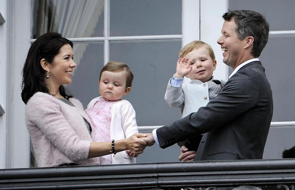 <p>May 2008: The family of four celebrate future king Frederik's 40th birthday at Amalienborg Palace. Photo: Getty Images.</p>